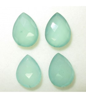 Lot Green Calchedony Faceted Drop 16x12 mm. (4 pcs.).- Item: 044LO