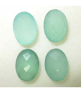 Lot Green Calchedony Faceted Oval 14x10 mm. (4 pcs.).- Item: 047LO