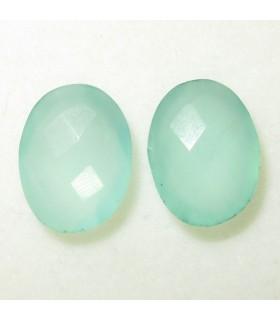 Lote Calcedonia Verde Oval Facetado 16x12 mm. (2 piezas).- Ref: 048LO