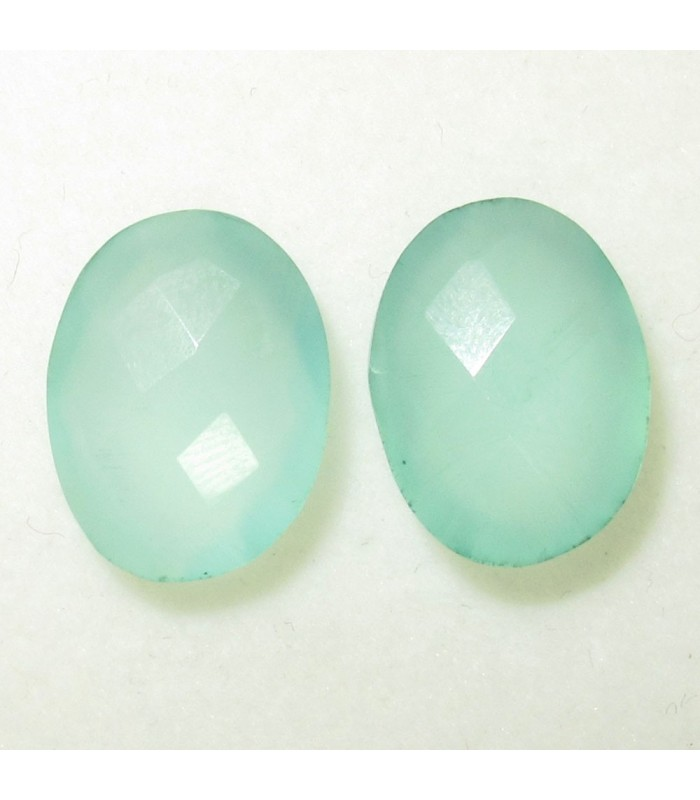 Lot Green Calchedony Faceted Oval 16x12 mm. (2 pcs.).- Item: 048LO