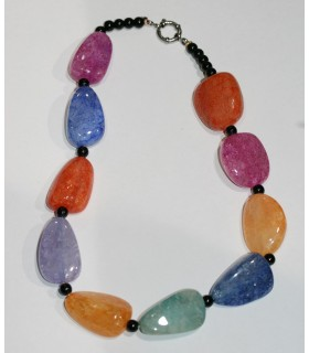 Multicolor Agate Irregular Nugget Necklace 33x21mm.Approx.-Long 47cm.-Item.10310