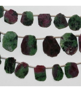 Ruby Zoisite Irregular Smooth Oval 12-20mm. Approx.-Strand 20cm.-Item.10317