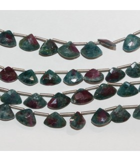Ruby Zoisite Faceted Drop 7-9mm.-Strand 20cm.-Item.10320