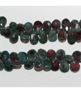 Ruby Zoisite Faceted Drop 9x6mm.-Strand 20cm.-Item.10321