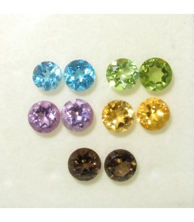 Lot Multi Stone Faceted Round 5 mm. (10 pcs.).- Item: 078LO
