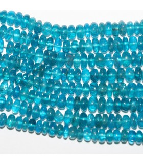 Blue Apatite Graduated Smooth Rondelle 4x2-8x4mm.-Strand 42cm.-Item.10379