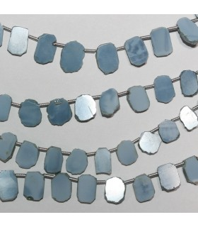 Blue Opal Irregular Smooth Oval 10x7mm. Approx.-Strand 21cm.-Item.10399
