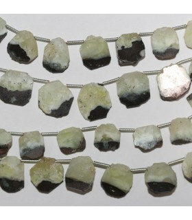Prehnite Irregular Smooth Oval 12-13mm. Approx.-Strand 21cm.-Item.10400