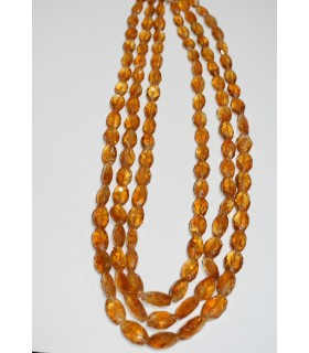 Citrine Faceted Graduated Nugget Necklace 10x6-18x12mm.Approx.( 3 Rows ) -Item.10405