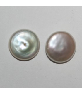 Coin Fresh Water Pearl Half Drilled 13mm.(1 Pair)-Item.10477