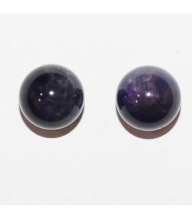 Amethyst Half Drilled Round Beads 10mm.(2 Pairs) Item.10490