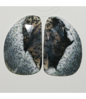 Dendritic Agate Faceted Oval Cabochon 34x22 mm. 1 Pair (45 ct.).- Item: 285PE