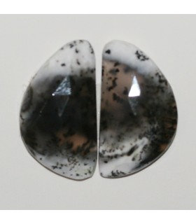 Dendritic Agate Faceted Oval Cabochon 22x12 mm. 1 Pair (15.9 ct.).- Item: 286PE