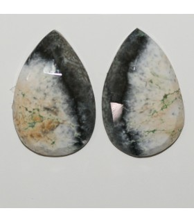 Dendritic Agate Faceted Drop Cabochon 28x18 mm. 1 Pair (33.3 ct.).- Item: 287PE