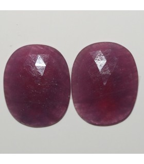 Ruby Faceted Oval Cabochon 23.5x19mm. 1 Pair (34 ct.).- Item: 291PE