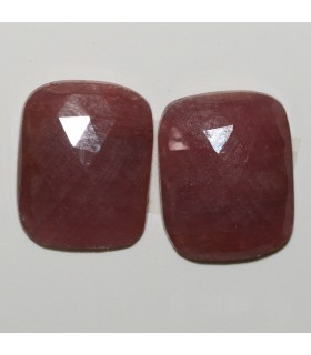Pink Sapphire Faceted Rectangular Cabochon 16x13mm. 1 Pair (20.5 ct.).- Item: 292PE