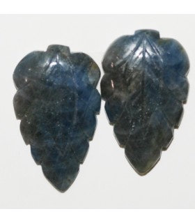 Sapphire Carved Leaf Cabochon 26x16mm. 1 Pair (34.20 ct.).- Item: 296PE