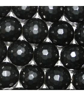 Azabache Bola Facetada (128 facetas) 14mm -Hilo 40cm- Ref.3291