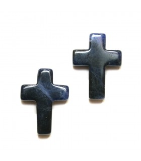 Sodalite Cross Pendant 20x15 mm. Half drilled.- Ref: 10931