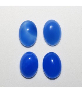 Blue Calchedony Oval Cabochon 14x10mm. (4 pcs.).- Ref: 1054CB