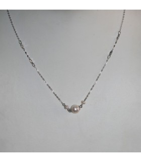 Collar Plata Con Perla Redonda Largo 50cm.-Ref.7374