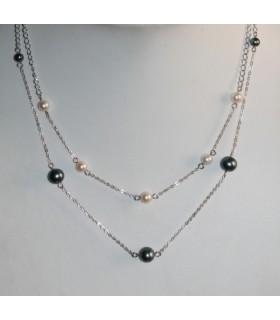 Collar Plata y Perlas Blanca Y Gris Largo 47cm._Ref.7375