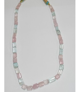 Aquamarine And Morganite Graduated Faceted Tube Necklace 10x6-14x10mm.Approx-Item.10575