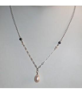 Collar Plata Y Perlas Oval Largo 50cm.-Ref.7378