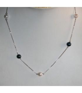 Collar Plata Y Perlas Redondas Blanca Y Gris Largo 74cm.-Ref.7377