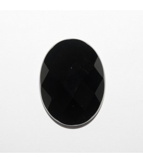 Onyx Oval Faceted Cabochon 20x15mm (4 pcs).- Ref: 1182CB