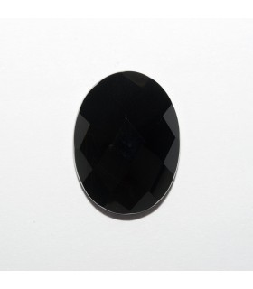 Onyx Oval Faceted Cabochon 16x12mm (6 pcs).- Ref: 1184CB