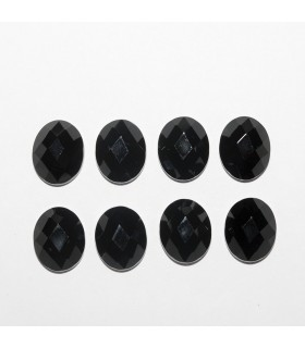 Onyx Oval Faceted Cabochon 10x8mm (8 pcs).- Ref: 1185CB