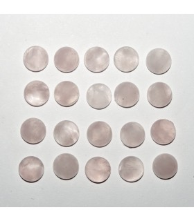 Cabujon Cuarzo Rosa Redondo 6mm (20 piezas).- Ref: 1100CB