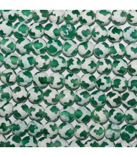 Green-White Agate Faceted Round Beads 6mm.-Strand 37cm.-Item.10626