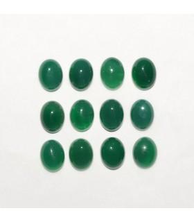 Green Agate Oval Cabochon 9x7mm (12 pcs).- Ref: 1147CB