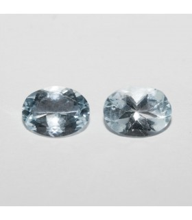 Aquamarine Faceted Oval ( 2 CT ) 1 Pair 8x6mm.-Item.043PE