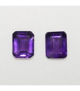 Lot Amethyst Rectangular Faceted 10x8mm (2 pcs).- Ref: 137LO