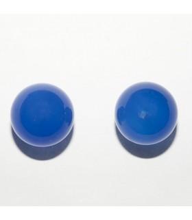Blue Agate Half Drilled Round Beads 12mm (3 pairs).- Ref: 10938