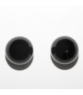 Pendiente Onix Bola Lisa 12mm. Medio Taladro (3 pares).- Ref: 10939