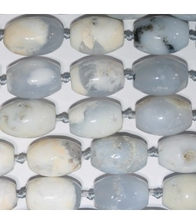 White-Grey Agate Smooth Barrel 25x18mm.-Strand 40cm.-Item.10638