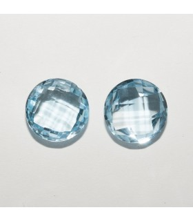 Sky Topaz Round Faceted Briolette cut 10mm (1 pair).- Ref: 149LO
