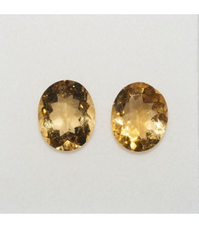 Lot Citrine Oval Faceted 12x10mm (2 pcs).- Ref: 145LO