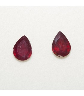 Lot Ruby Drop Faceted 6x8mm (2 pcs).- Ref: 114LO