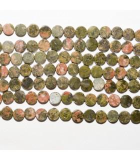 Unakite Smooth Coin 4mm. Strand 40 cm.- Ref: 10683