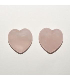 Rose Quartz Heart Beads 15x14mm. Half Drilled. (1 pair).- Item: 10944
