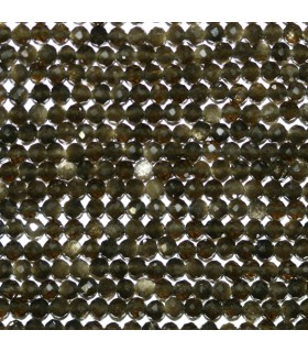Obsidian Faceted Round Beads 3mm.-Strand 38cm.-Item.10677