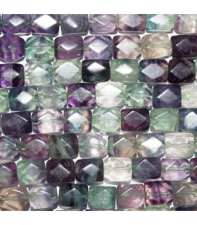 Fluorite Faceted Cube 11x8mm. Strand 41 cm. Item: 10715