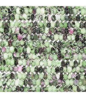 Ruby Zoisite Faceted Rondelle 6x4mm. Strand 39 cm.- Item: 10794