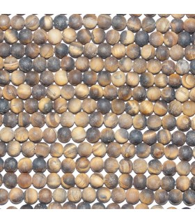 Tiger Eye Matte Finish Round Beads 6mm. Strand 38 cm.- Item: 10797