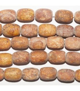 Brown Agate Matte Finish Smooth Barrel 14x10mm. Strand 38 cm.- Item: 10860